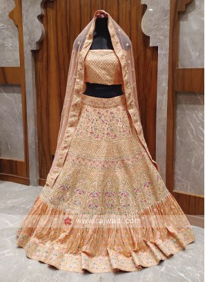 Bridal silk peach lehenga choli