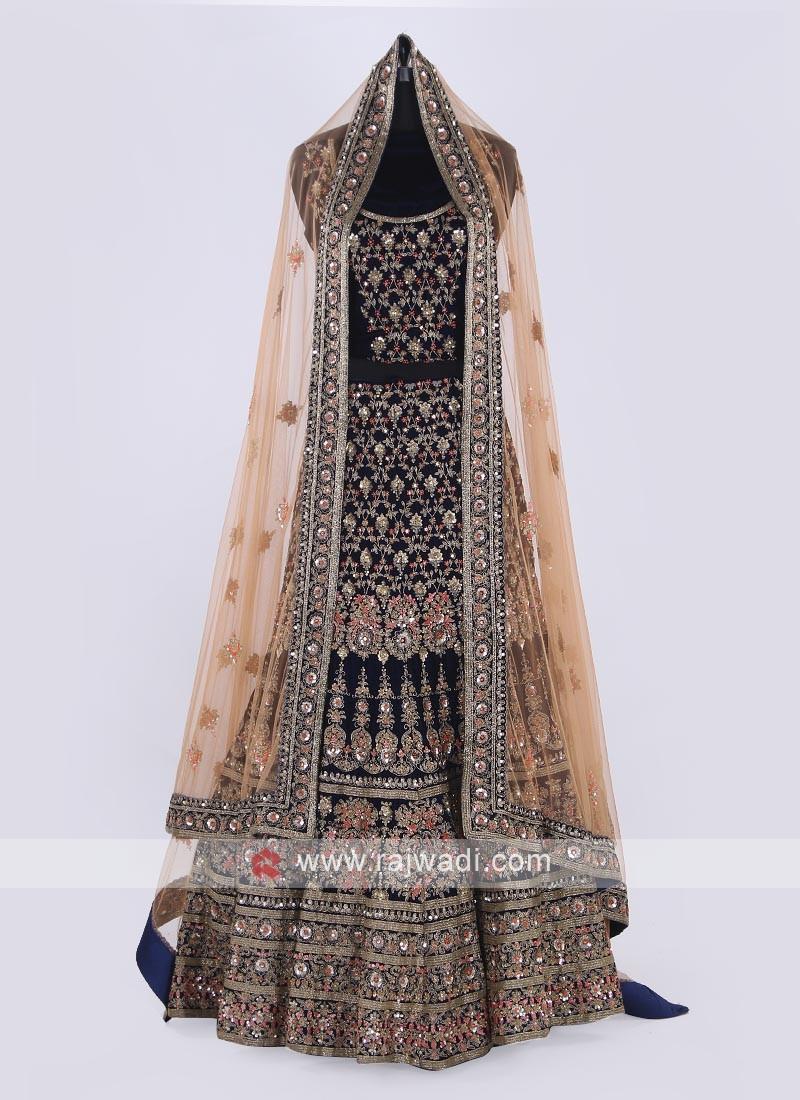 Bridal Velvet Lehenga Choli In Blue Color