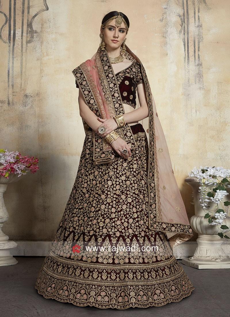 Bridal Velvet Lehenga Choli in Maroon