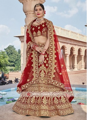 Bridal Velvet Lehenga Choli In Maroon