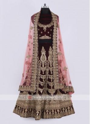 Bridal Velvet Lehenga Choli In Maroon Color