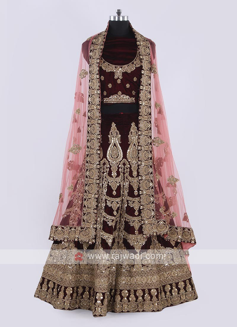 Bridal Velvet Lehenga Choli In Maroon Color