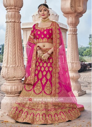 Bridal Velvet Lehenga Choli In Pink