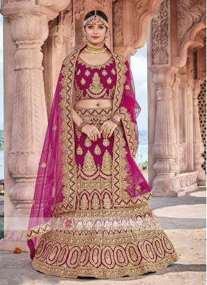 Bridal Velvet Lehenga Choli In Rani