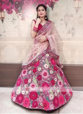 bridal raw silk lehenga choli in rani color