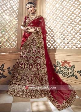 Bridal Velvet Lehenga Choli in Red