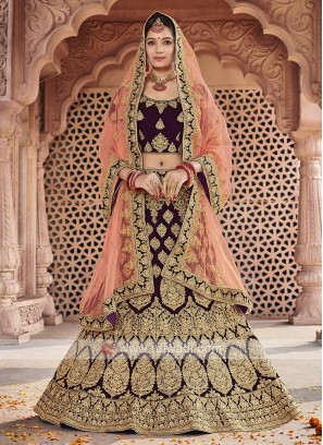 Bridal Velvet Lehenga Choli In Wine Color