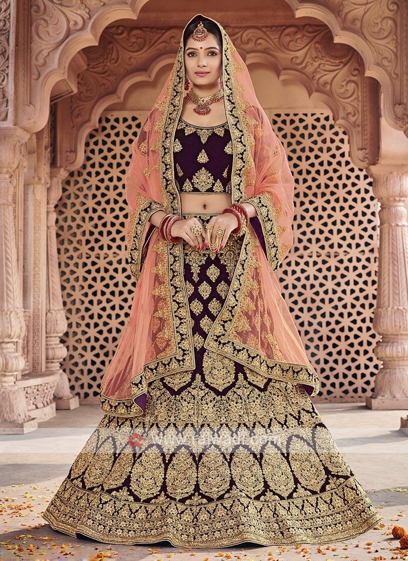 Bridal Velvet Lehenga Choli In Wine Color