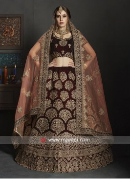Bridal Velvet Lehenga Choli with Dupatta