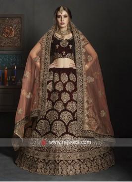 Bridal Velvet Lehenga Choli with Dupatta