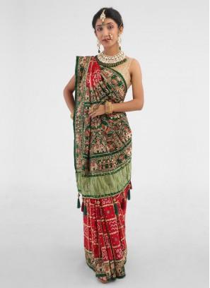Bridal Wear Gajji Silk Saree In Red And Green Saree