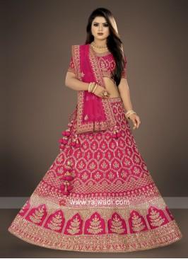bridal wear rani Color Lehenga Choli
