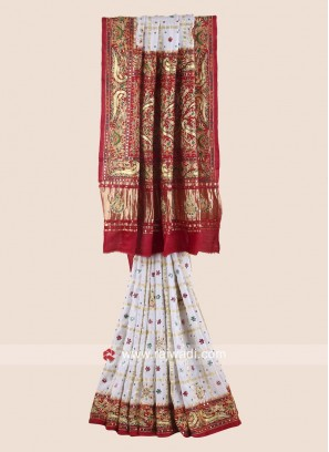 Bridal Wedding Gajji Silk Gharchola Saree