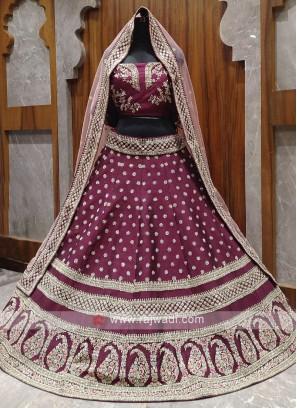 Bridal wine colour lehenga choli