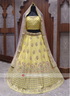 Bridal yellow colour lehenga choli