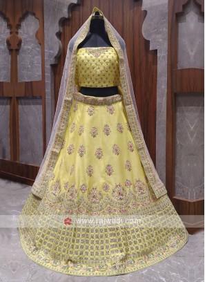 Bridal yellow colour lehenga choli