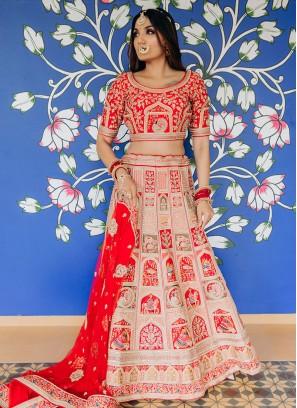 Bride Embroidery Red Color Lehenga  Choli