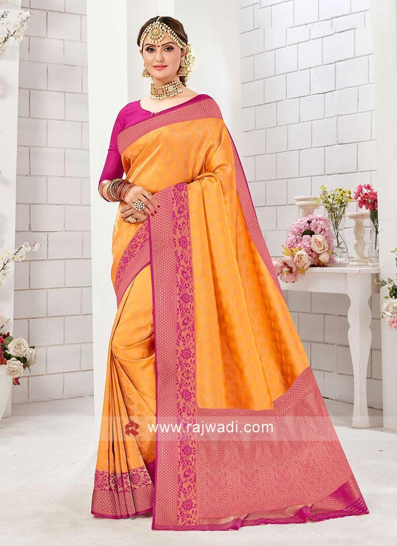 Bright And Beautiful Yellow And Rani Color Saree