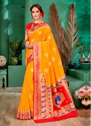 Bright And Beautiful Yellow Color Banarasi Silk Saree