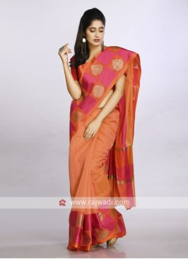 Orange soft cotton saree