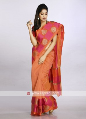 Orange cotton silk saree