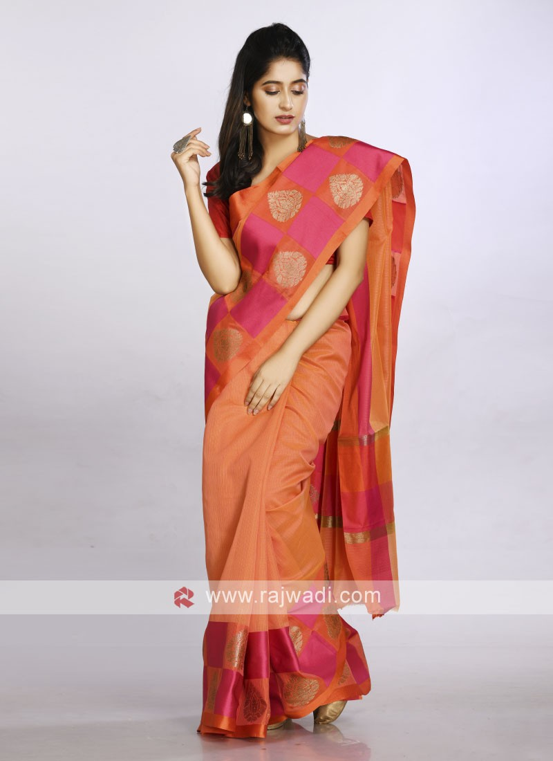 Orange soft cotton saree