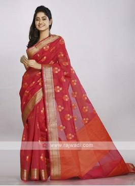 Bright red cotton silk saree