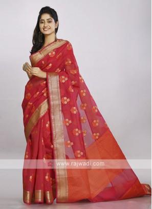 Bright red soft cotton saree