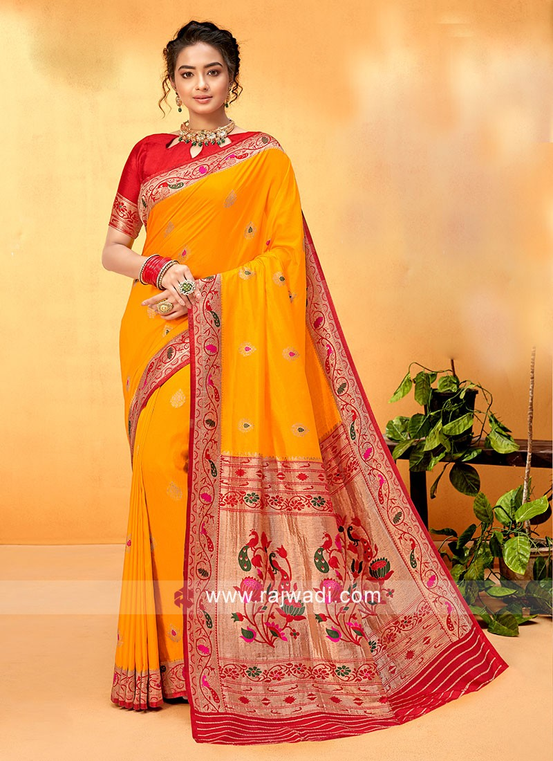 Bright Yellow And Red Color Banarasi Silk Saree