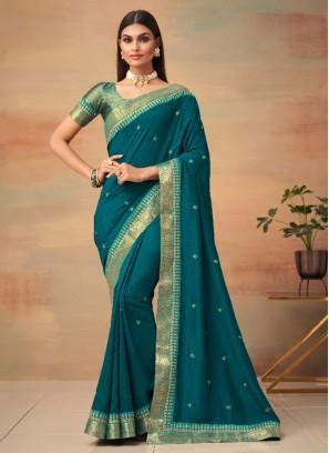 Brilliant Vichitra Silk Woven Morpeach  Traditional Designer Saree