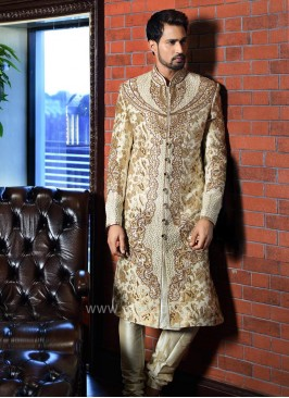 Brocade and Art Silk Fabric Sherwani