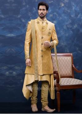 Brocade and Art Silk Sherwani With Matching Bottom