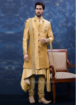 Brocade and Art Silk Sherwani With Matching Bottom