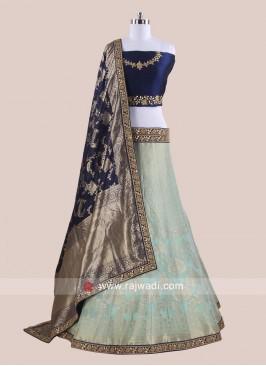 Brocade and Raw Silk Lehenga Choli