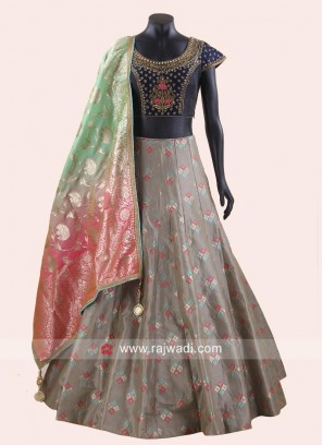 Brocade and Raw Silk Lehenga Set