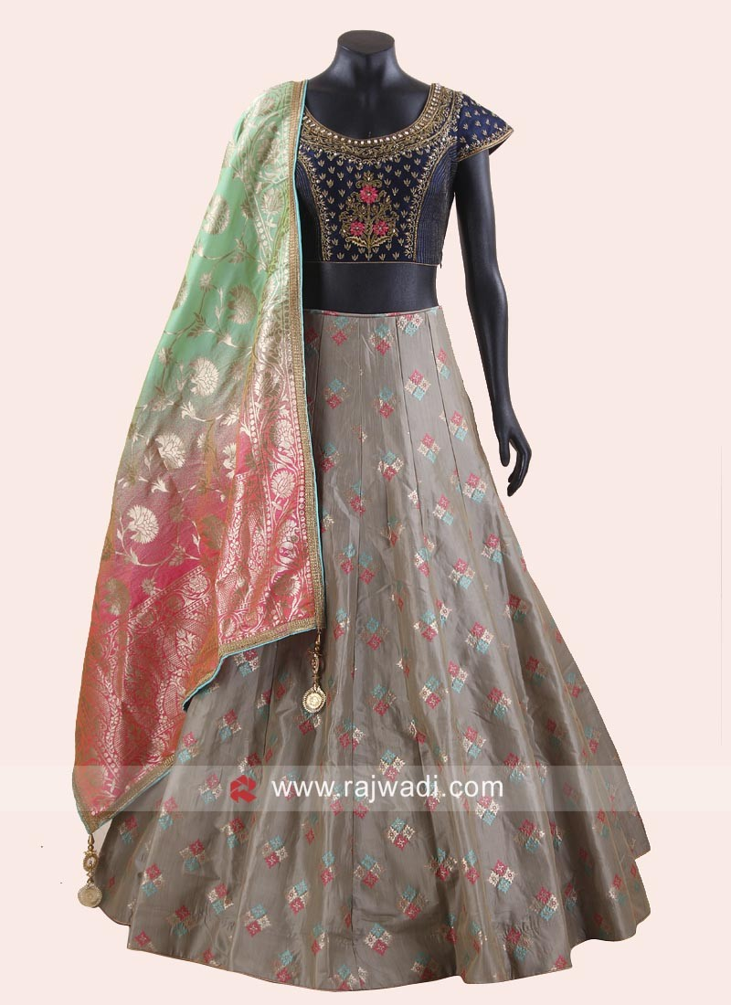 abcdc83a2cc3c9 Brocade and Raw Silk Lehenga Set. Hover to zoom