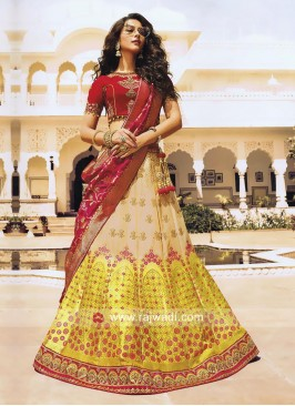 Brocade and Raw Silk Shaded Lehenga Choli