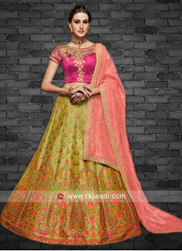 Brocade and Raw Silk Wedding Lehenga
