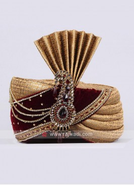 Brocade and Velvet Fabric Mens Turban