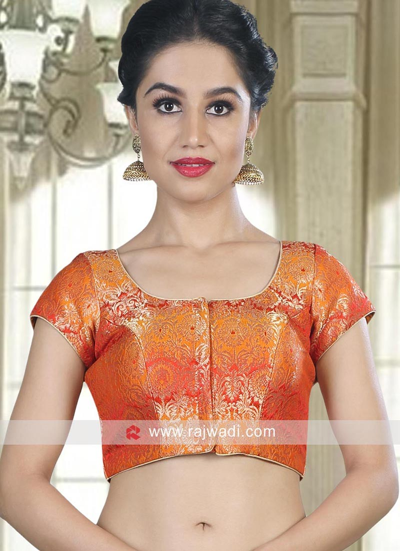Brocade Cap Sleeves Stitched Blouse