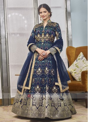 Brocade Dark Blue Anarkali Suit