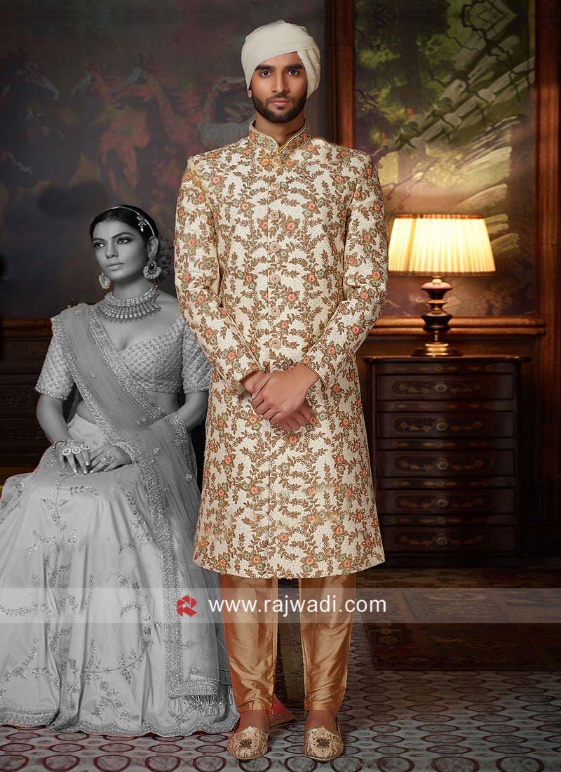 Stylish Silk Embroidered Sherwani