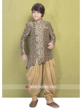 Brocade Fabric Golden Color Indo Western