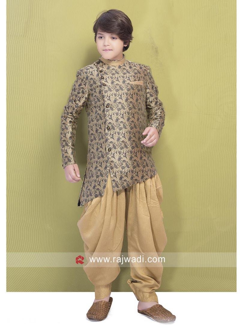 Brocade Fabric Golden Color Indo Western