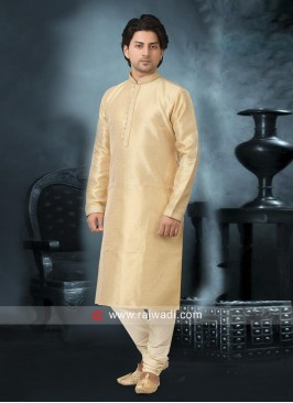 Satin Silk Fabric Cream Color Kurta Pajama