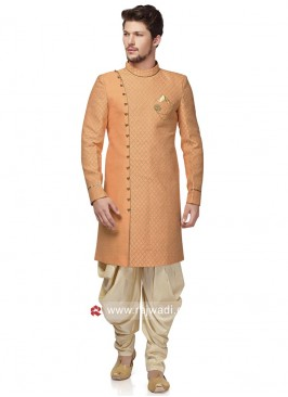 Round Neck Peach Color Patiala Suit