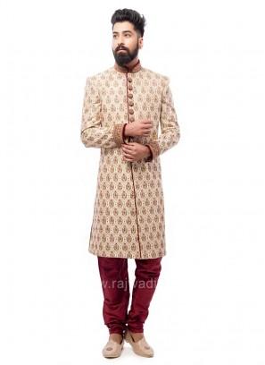 Brocade Fabric Golden Sherwani