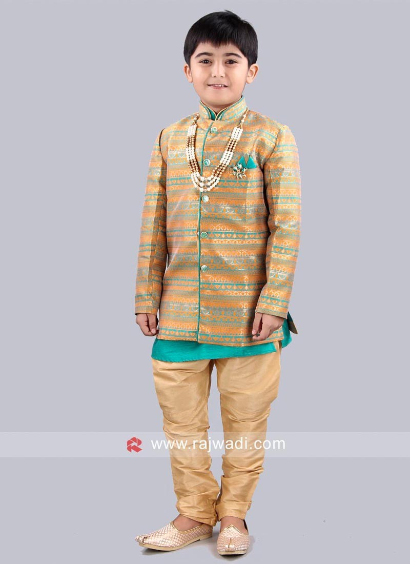 Brocade Fabric Indo Western With Golden Breeches