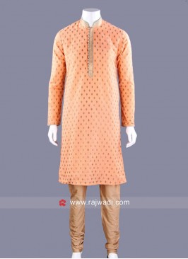 Brocade Fabric Kurta Pajama In Coral Color