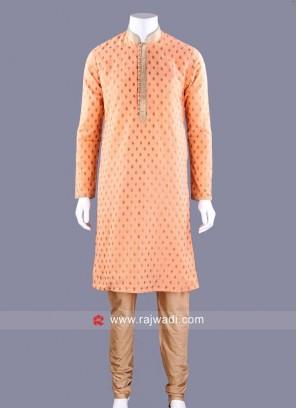 Brocade Fabric Kurta Pajama In Coral Color